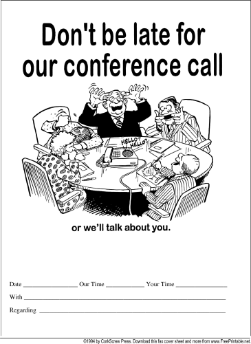 Conference Call Reminder fax cover sheet