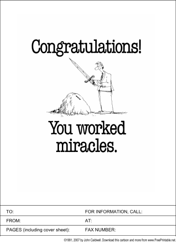 You Worked Miracles fax cover sheet