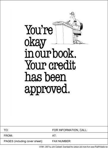 Credit Approved fax cover sheet