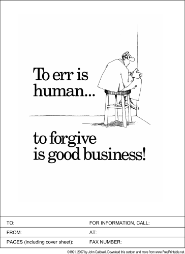 To Forgive is Good Business fax cover sheet