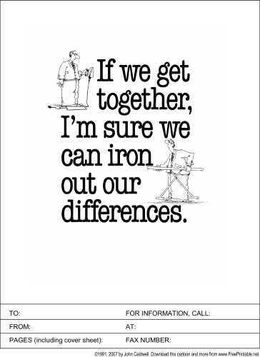 Iron Out Our Differences fax cover sheet