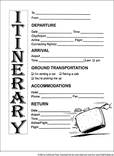Itinerary fax cover sheet