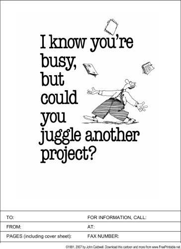 Juggle Another Project fax cover sheet