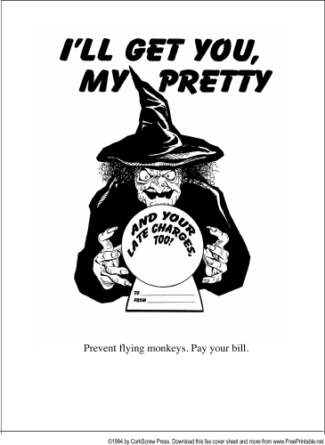 Pay Your Bill fax cover sheet