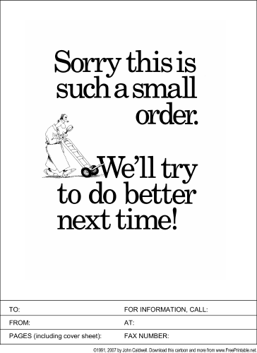 Small Order fax cover sheet