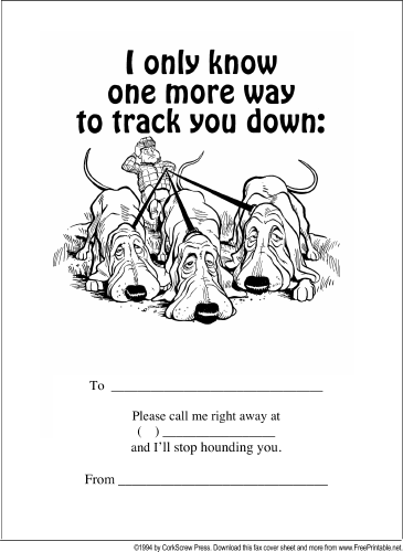 Track You Down fax cover sheet