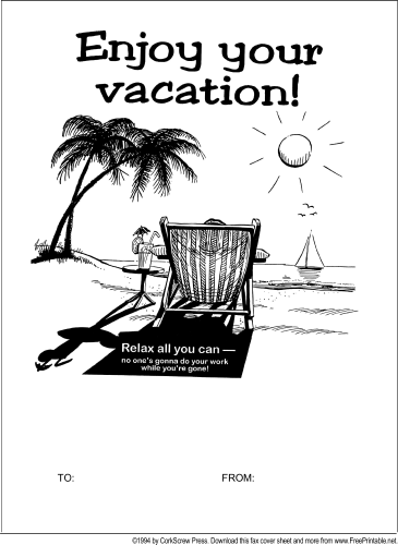 Vacation fax cover sheet