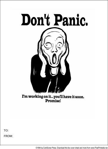 Dont Panic Fax Cover Sheet